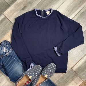 {J Crew} ruffle details sweatshirt pullover